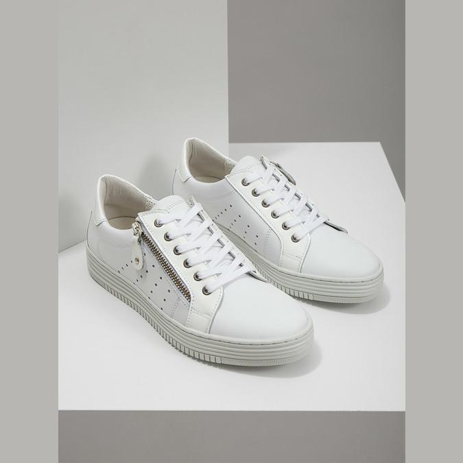 Kožené dámske tenisky so zipsom bata, biela, 526-2630 - 18