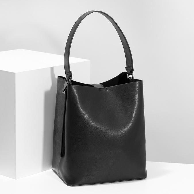 Čierna kabelka s odnímateľným popruhom bata, čierna, 961-2173 - 17
