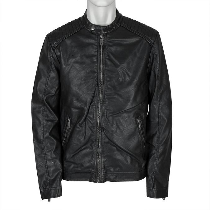 Pánska bunda s prešitím bata, čierna, 971-6103 - 13