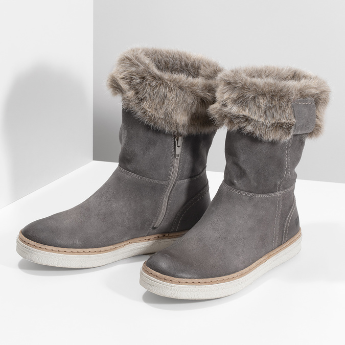 Kožená obuv s kožúškom weinbrenner, šedá, 596-2633 - 16