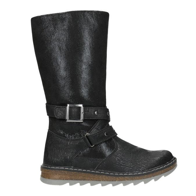 Dievčenské čižmy s masívnou podrážkou mini-b, čierna, 391-6657 - 26