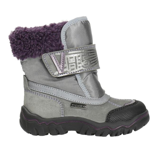 Dievčenská zimná obuv s kožúškom bubblegummers, šedá, 193-2601 - 15