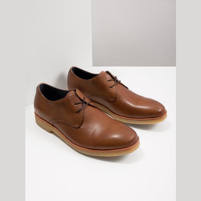 Kožené poltopánky s ležérnou podrážkou bata, hnedá, 826-3412 - 14