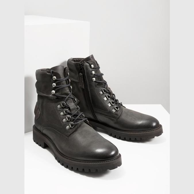 Členková kožená obuv bata, šedá, 896-2663 - 18