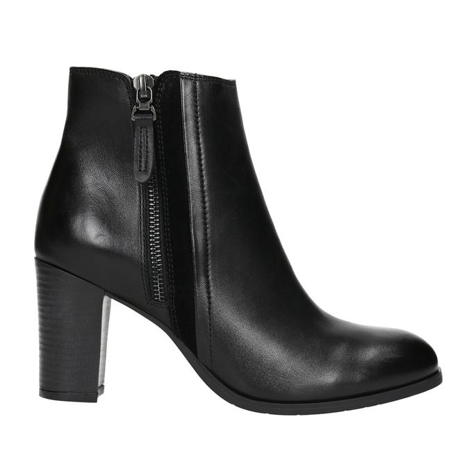 Kožené členkové topánky na podpätku bata, čierna, 794-6642 - 15