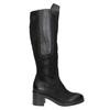 Kožené čižmy na stabilnom podpätku bata, čierna, 696-6647 - 26