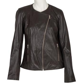 Dámska kožená bunda s asymetrickým zipsom bata, hnedá, 974-4177 - 13