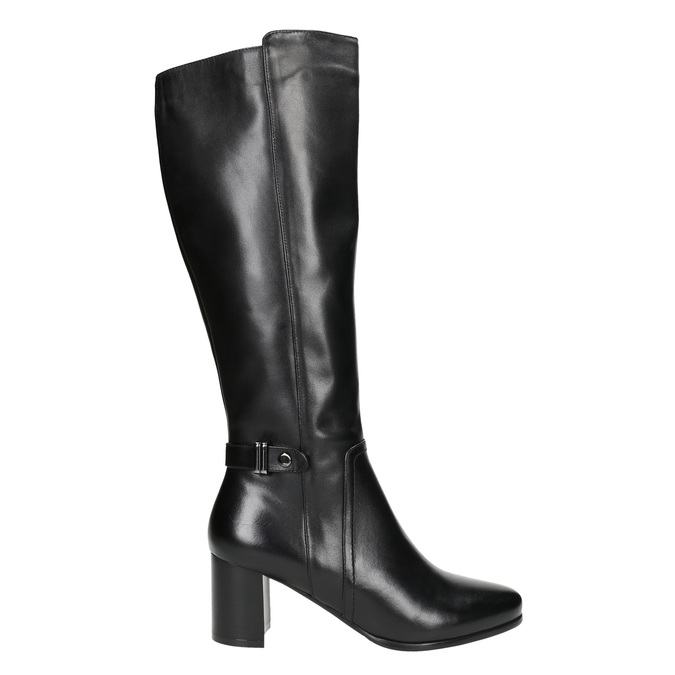 Čižmy na stabilnom podpätku bata, čierna, 694-6638 - 15