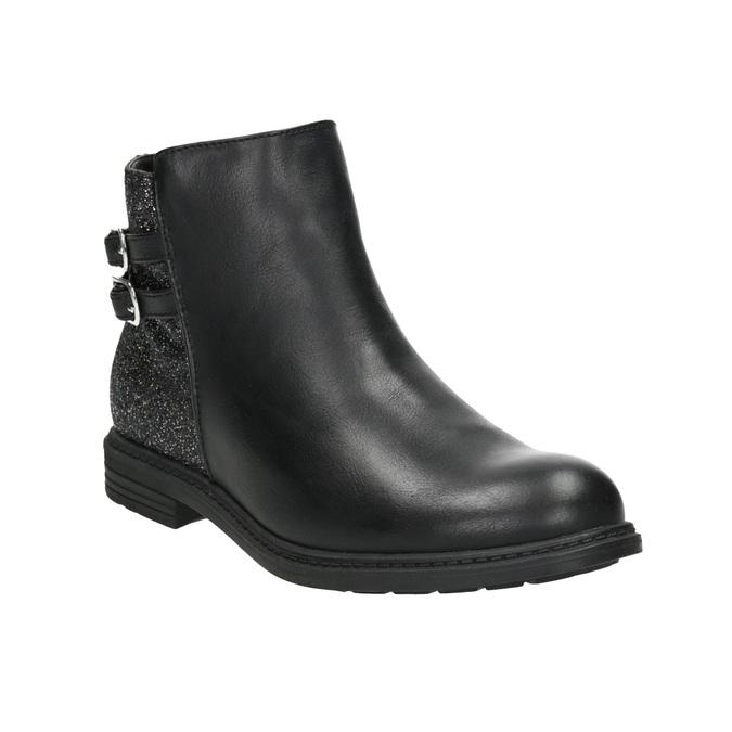 Dievčenská členková obuv s trblietkami mini-b, čierna, 391-6395 - 13