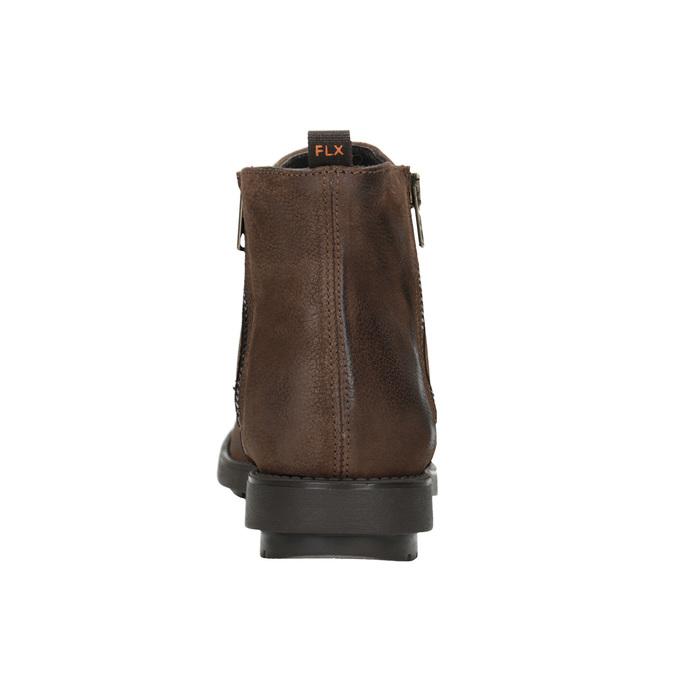 Kožená členková obuv so zipsom flexible, hnedá, 594-4227 - 16