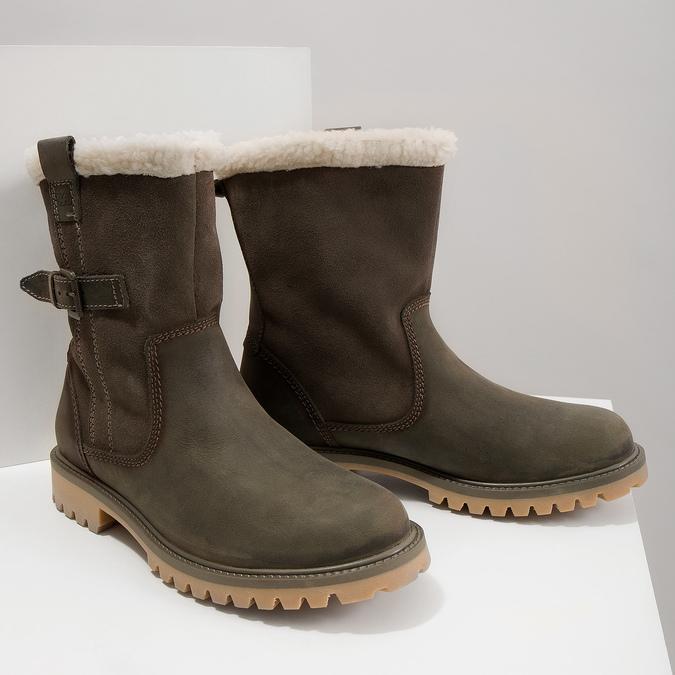 Dámska zimná obuv s kožúškom weinbrenner, šedá, 594-2455 - 14