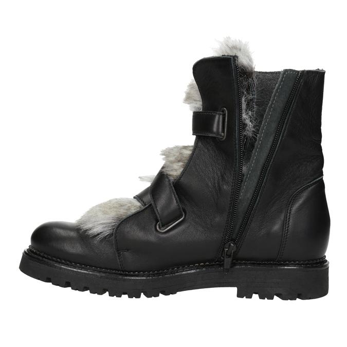 Kožená členková obuv s kožúškom bata, čierna, 594-6656 - 15
