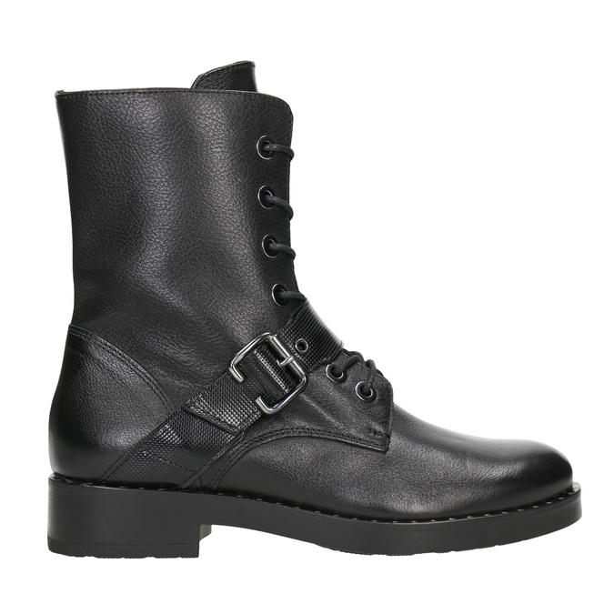 Dámske kožené čižmy s prackou bata, čierna, 596-6681 - 26