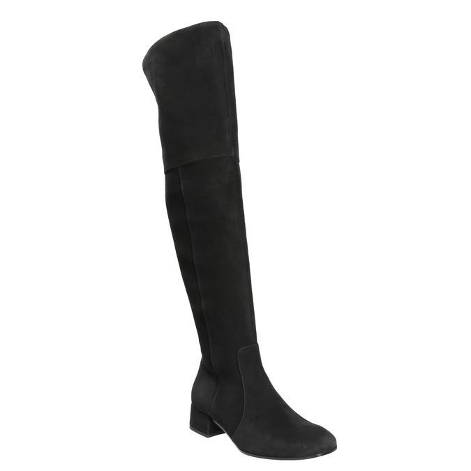 Dámske kožené čižmy nad kolená bata, čierna, 693-6604 - 13