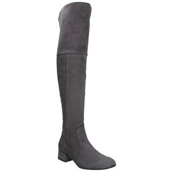 Kožené dámske čižmy nad kolená bata, šedá, 693-2604 - 13