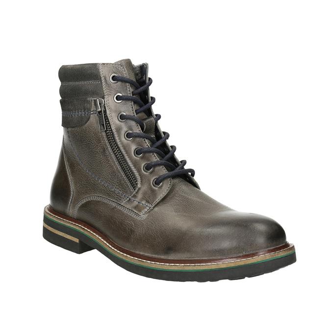 Kožená členková obuv bata, šedá, 896-2686 - 13