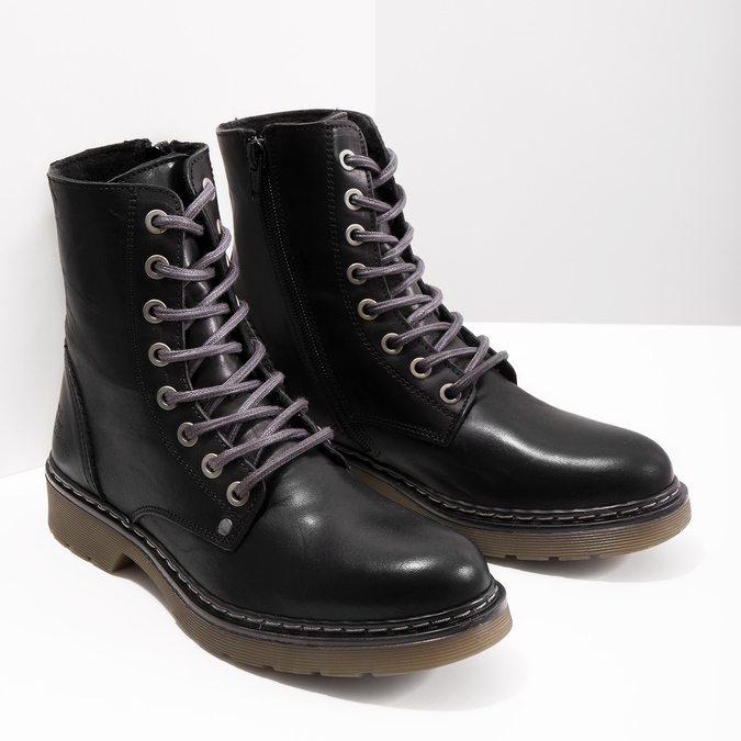 Kožená dámska členková obuv bata, čierna, 594-6681 - 18