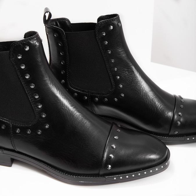 Dámske kožené Chelsea s cvokmi bata, čierna, 596-6679 - 14