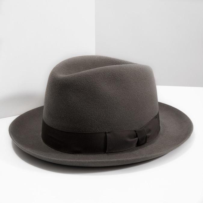 Pánsky hnedý klobúk s mašľou tonak, hnedá, 909-3648 - 18