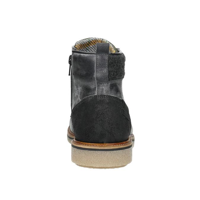 Kožená pánska členková obuv bata, šedá, 896-2669 - 16