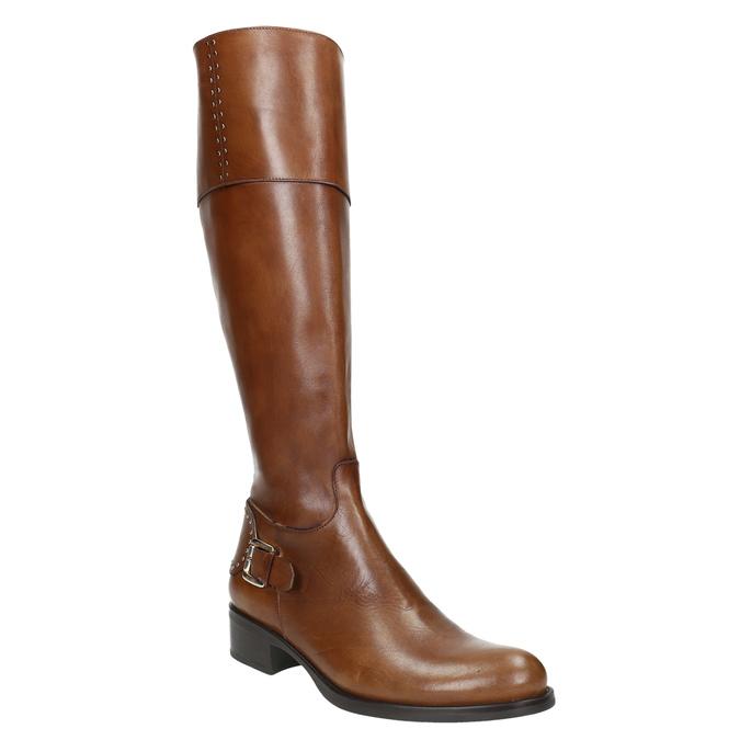 Dámské kožené čižmy s prackou bata, hnedá, 594-3427 - 13