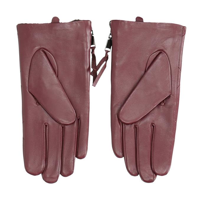 Vínové kožené rukavice so zipsom bata, červená, 904-5108 - 16