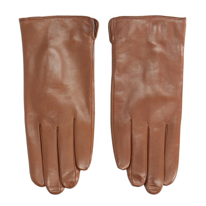 Hnedé kožené rukavice bata, hnedá, 904-3129 - 26