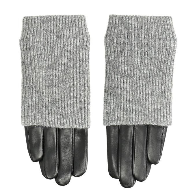 Kožené rukavice so svetrovým detailom bata, šedá, 904-2125 - 26