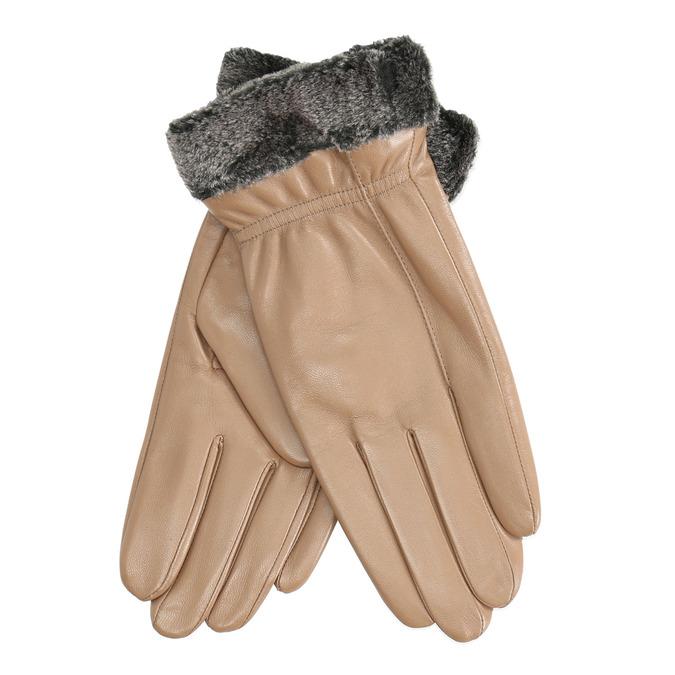 Dámske kožené rukavice béžové bata, béžová, 904-4112 - 13