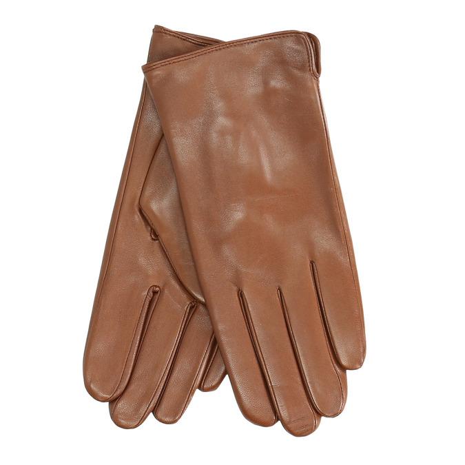 Hnedé kožené rukavice bata, hnedá, 904-3129 - 13