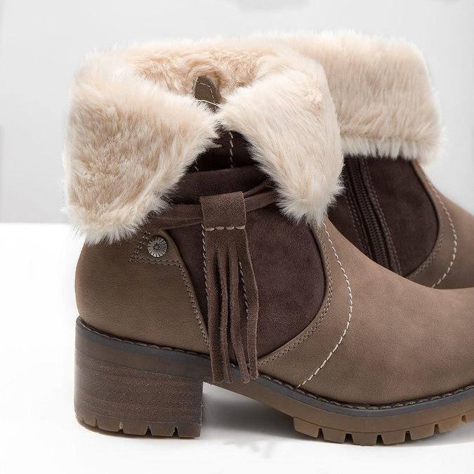 Členková obuv s kožúškom bata, hnedá, 691-2633 - 14