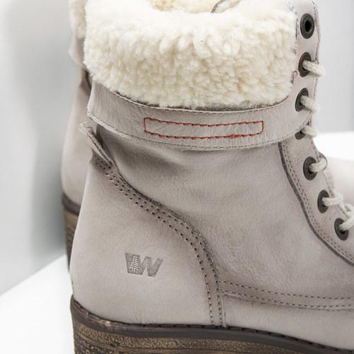 Kožená zimná obuv s kožúškom bata, béžová, 696-3336 - 14