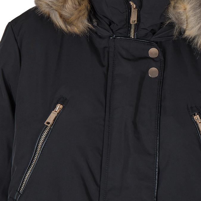 Dámska bunda s kožúškom bata, čierna, 979-6177 - 16