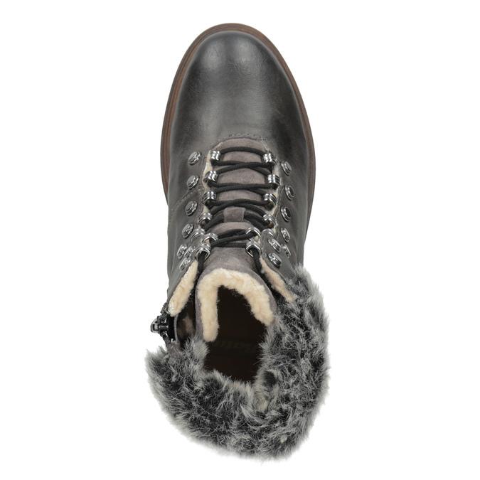 Kožená zimná obuv s kožúškom bata, šedá, 594-6650 - 17
