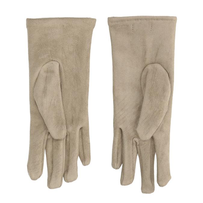 Dámske textilné rukavice s gombíkmi bata, béžová, 909-8612 - 16