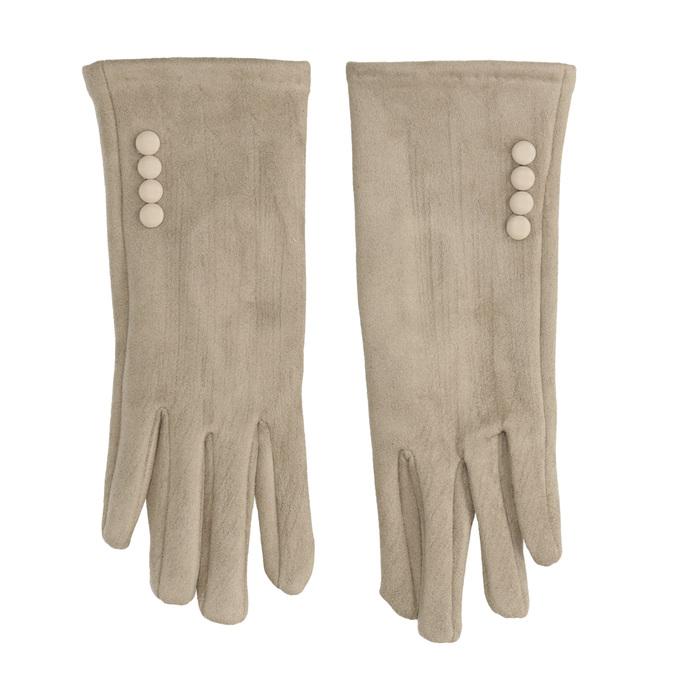Dámske textilné rukavice s gombíkmi bata, béžová, 909-8612 - 26