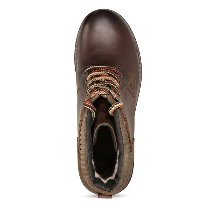 Kožená členková zimná obuv bata, hnedá, 896-4661 - 17