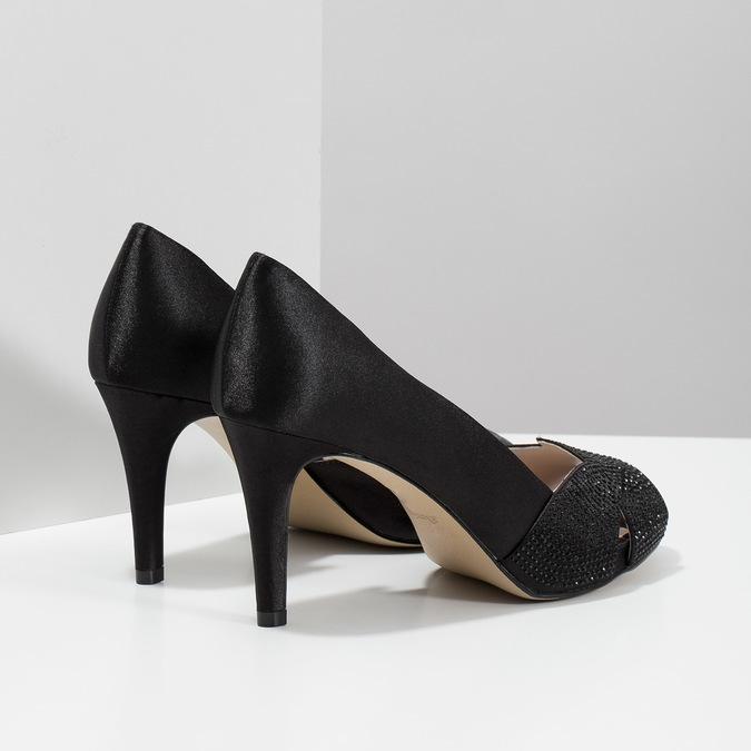 Čierne lodičky s kamienkami bata, čierna, 729-6613 - 16