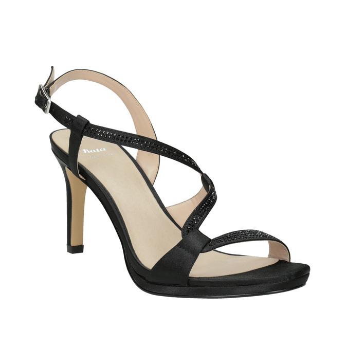 Dámske spoločenské sandále s kamienkami bata, čierna, 729-6611 - 13