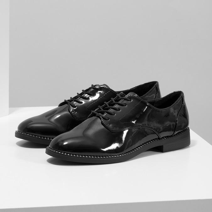 Dámske lakované poltopánky bata, čierna, 521-6608 - 16