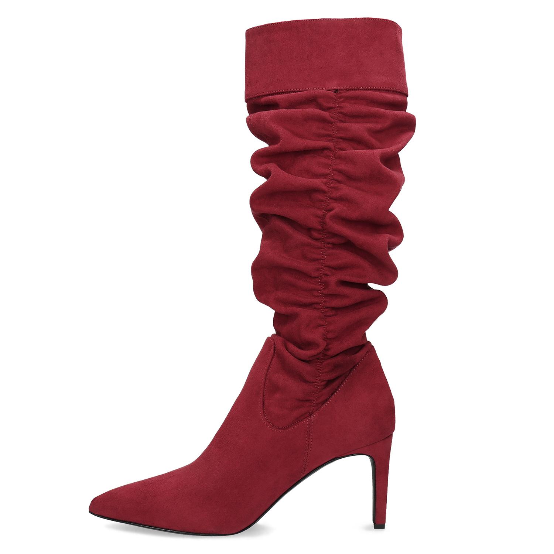 aea5f5a3b1 Baťa Dámske červené čižmy s riasením - Red Trend