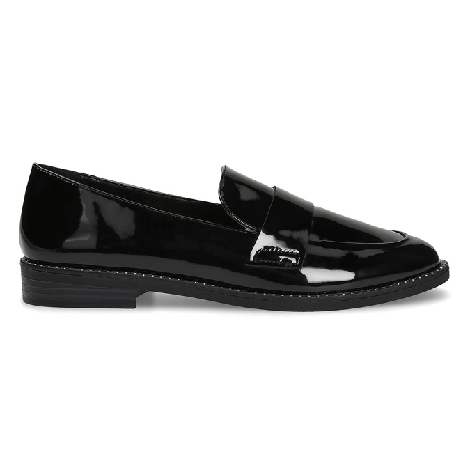 Lakované dámske mokasíny bata, čierna, 511-6607 - 19