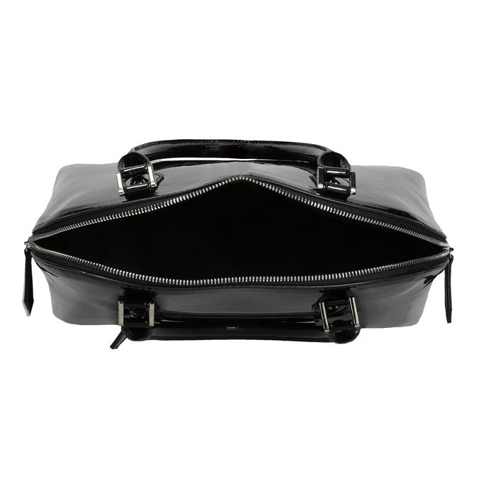 Čierna lakovaná kabelka bata, čierna, 961-6849 - 15