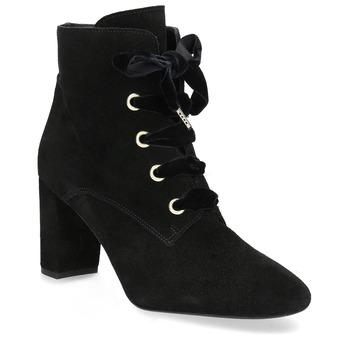 Kožené členkové topánky s mašľou bata, čierna, 793-6613 - 13