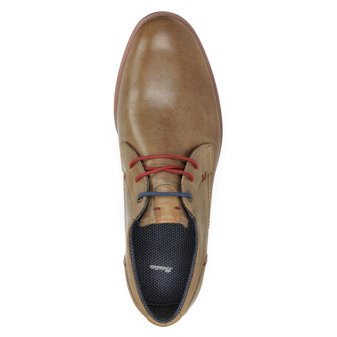 Kožené poltopánky s farebnými šnúrkami bata, hnedá, 826-4928 - 15