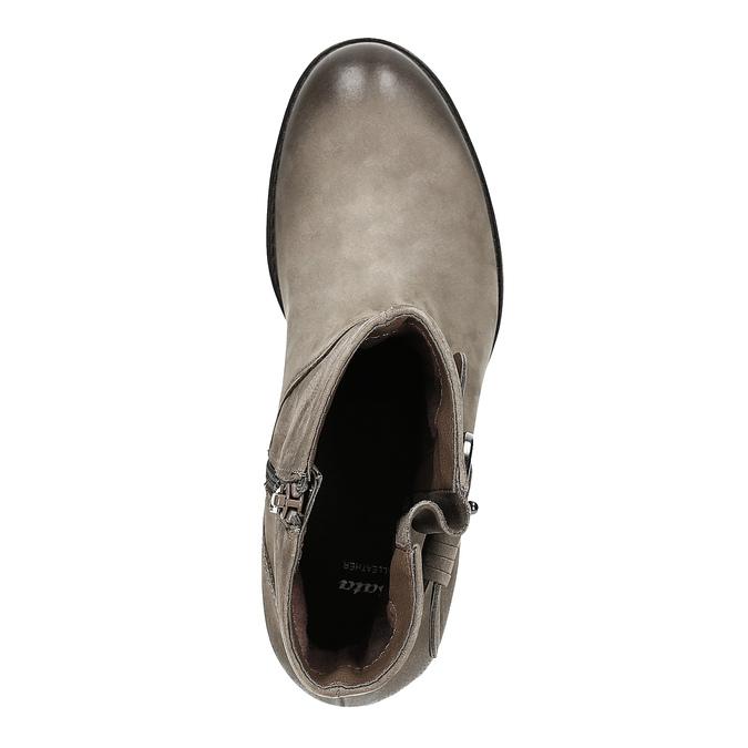 Kožené členkové čižmy s prackou bata, šedá, 696-2621 - 19