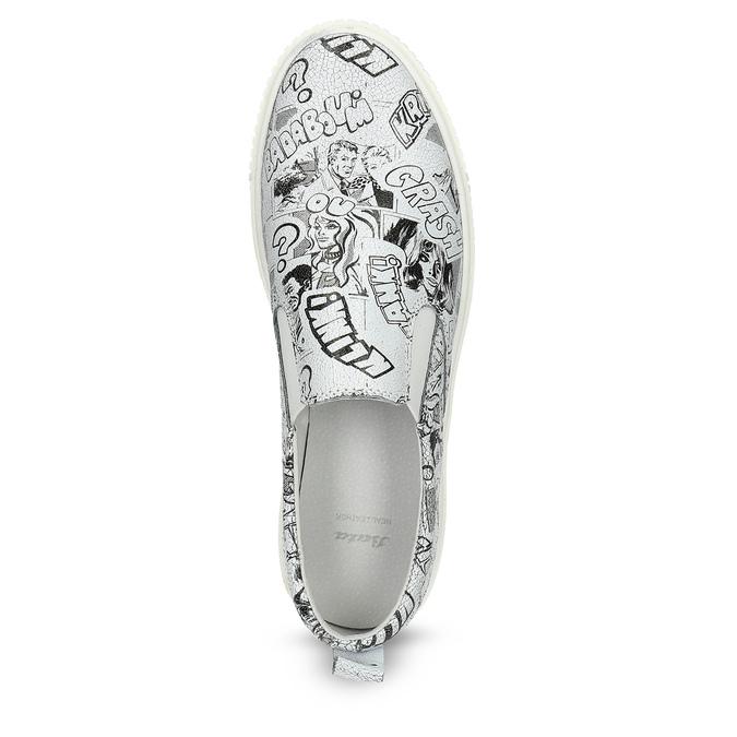 Dámska kožená Slip-on obuv bata, biela, 536-1608 - 17