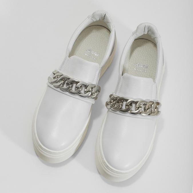 Kožené dámske Slip-on s retiazkou bata, biela, 514-1601 - 16