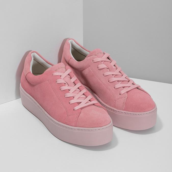 Ružové kožené tenisky na flatforme vagabond, ružová, 623-5050 - 26