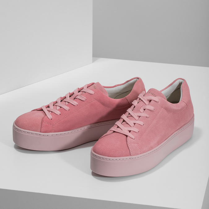 Ružové kožené tenisky na flatforme vagabond, ružová, 623-5050 - 16
